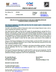 Press Release No 08/2020: Financial Intelligence Unit signs Memorandum of Understanding with Post Fiji
